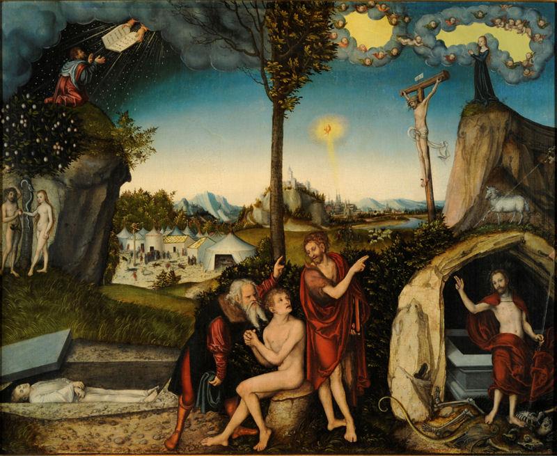Lucas Cranach. Gesetzt und Glaube. Malerei auf Lindenholz. Nationalgalerie Prag