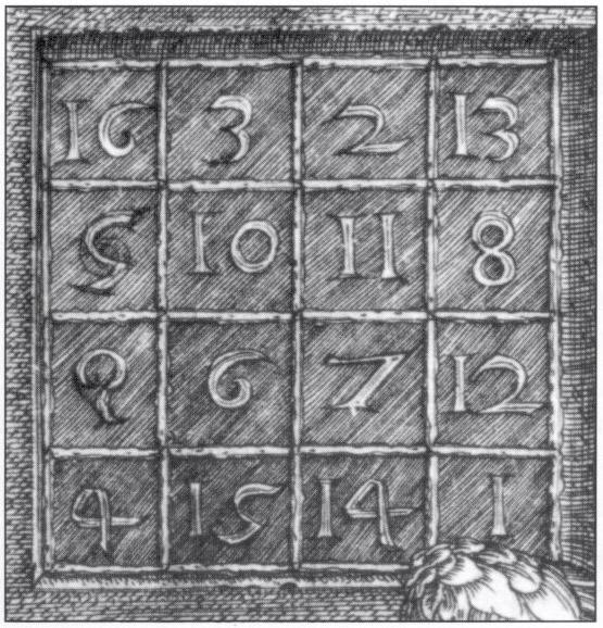 Albrecht Dürers magisches Quadrat auf dem Stich Melencholia aus dem Jahr 1514
