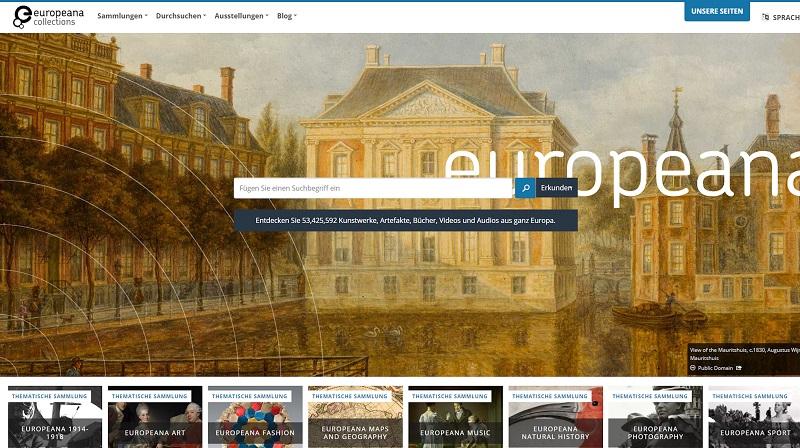 Startseite der Europeana.eu