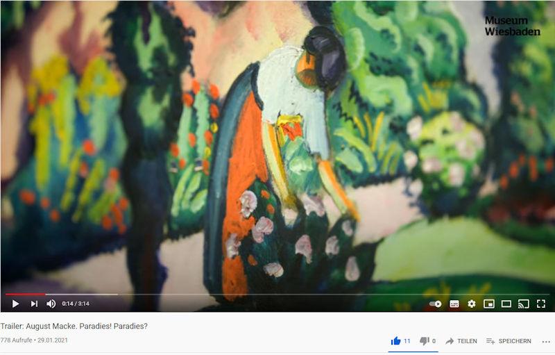 Standbild des YouTube Beitrags vom Museum Wiesbaden zur Macke-Ausstellung