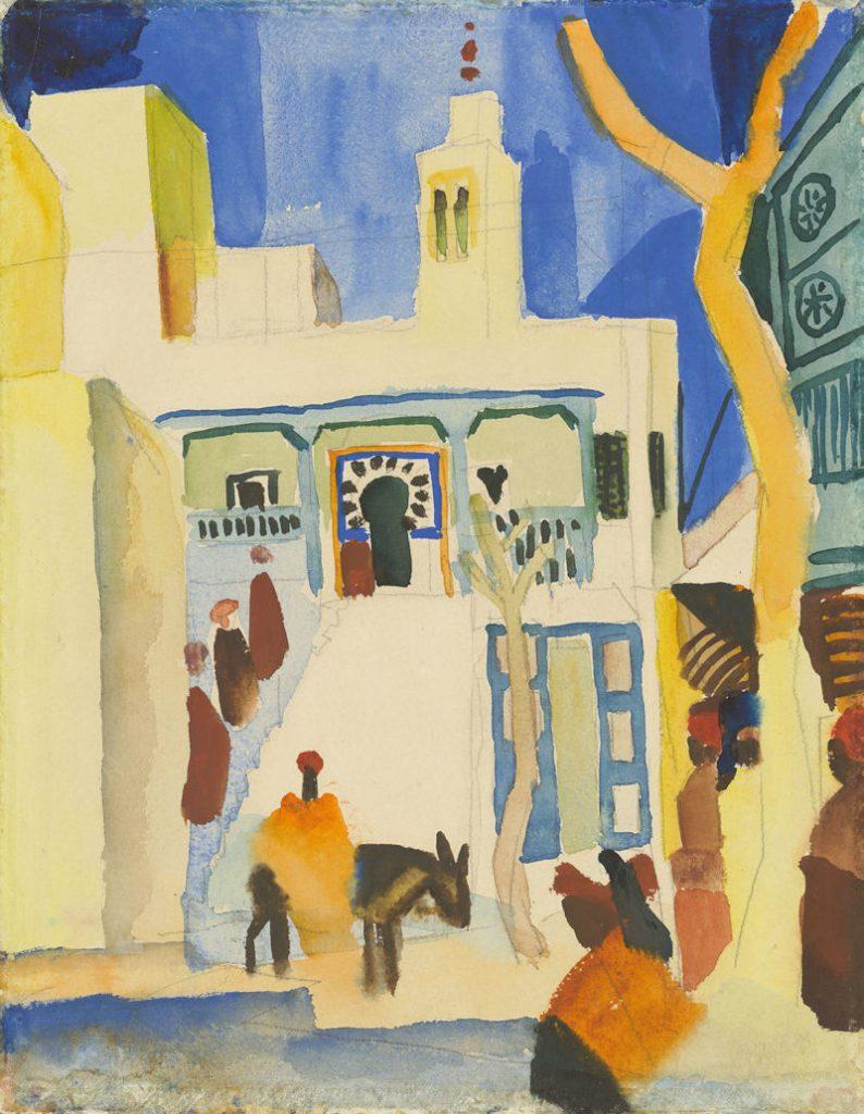 Aquarell von August Macke, das ein orientalisches Haus zeigt, davor einige Personen auf einer Treppe, ein Mann im Kaftan mit Esel und weitere Personen. Im Vordergrund ein Baum. Blauer Himmel.