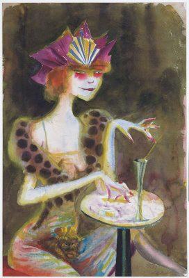 Otto Dix. Mieze, abends im Café. Die Darstellung einer Prosituierten malte Dix 1923. Sie ist grell geschminkt und hat ein durchsichtiges Kleid an. In ihrem Schoss sitzt ein kleines Hündchen.