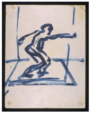 Zeichnung von Francis Bacon. Figur mit ausschwingendem Arm. Wohl um 1959-1961 entstanden.
